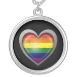 Gay Pride Rainbow Heart Flag with Metal Effect Necklace