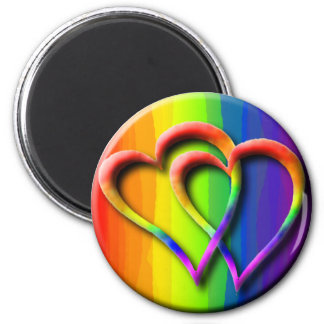 Gay Pride Rainbow Hearts Intertwined LGBT Magnet