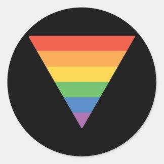 Gay Pride Rainbow Triangle Round Sticker