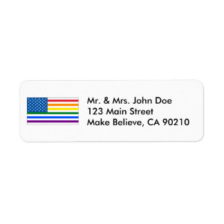 Gay Pride US Flag- Red White & Rainbow - w/Outline Return Address Label