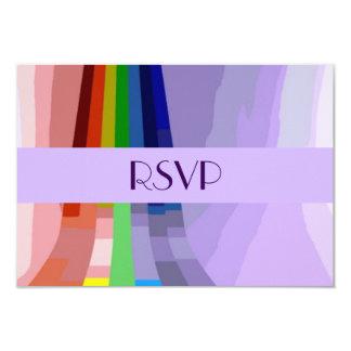 Gay Rainbow and Rings Wedding RSVP Card