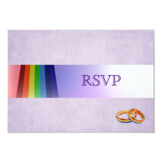 Gay Rainbow and Rings Wedding RSVP Card
