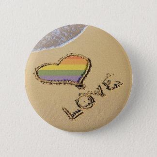 Gay Rainbow Love Heart In The Sand 6 Cm Round Badge