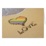 Gay Rainbow Love Heart In The Sand Greeting Cards