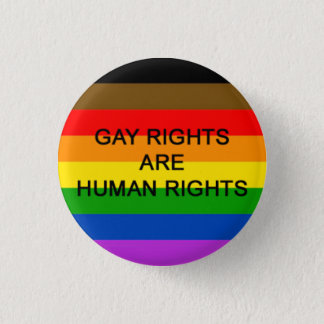 Gay Rights Are Human Rights Badge (Philly Flag)