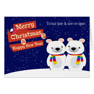 Gay Themed Christmas Polar Bears Personalised Card