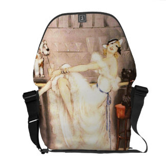 Gay Trio Vintage Woman in Bar with Dogs Retro Messenger Bag