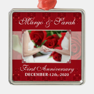 Gay Wedding 1st Anniversary Red Roses Metal Ornament