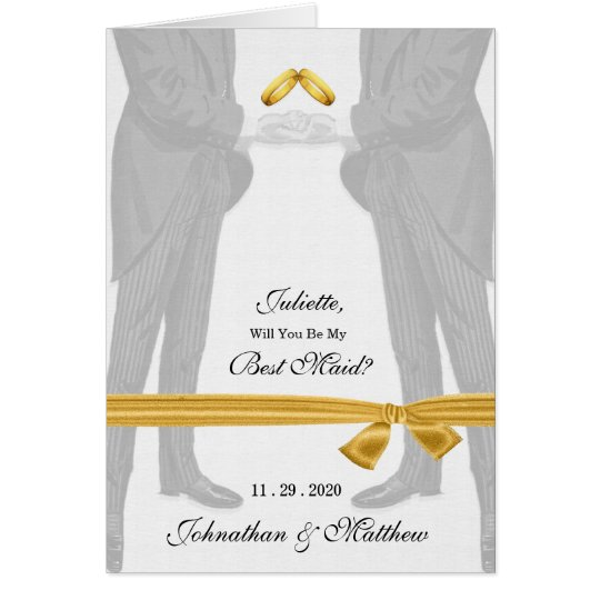 Gay Wedding Attendant Request Two Grooms Card