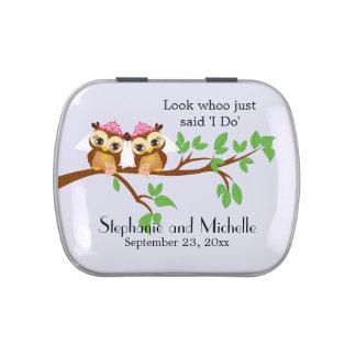 Gay Wedding Bride Owls Jelly Belly Candy Tin