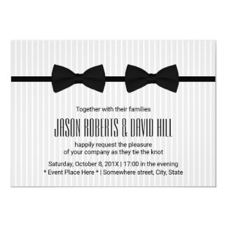 Gay Wedding Double Bow Ties Classic Card