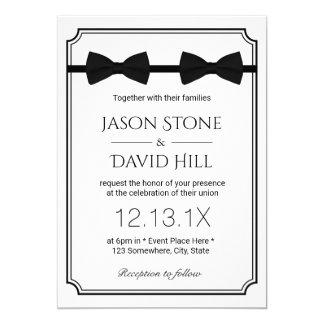 Gay Wedding Double Bow Ties Classic Framed 13 Cm X 18 Cm Invitation Card