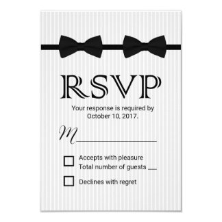 Gay Wedding Double Bow Ties Classic RSVP 9 Cm X 13 Cm Invitation Card