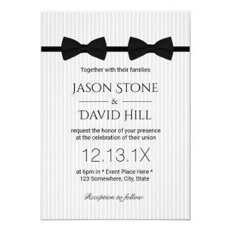 Gay Wedding Double Bow Ties Classic Wedding 13 Cm X 18 Cm Invitation Card