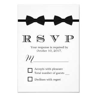 Gay Wedding Double Bow Ties Minimalist RSVP 9 Cm X 13 Cm Invitation Card