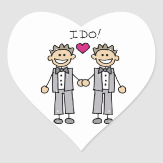 Gay Wedding Groom Heart Sticker