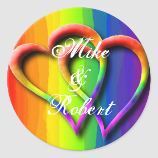 Gay Wedding Hearts LGBT Custom Personalized Names Round Sticker