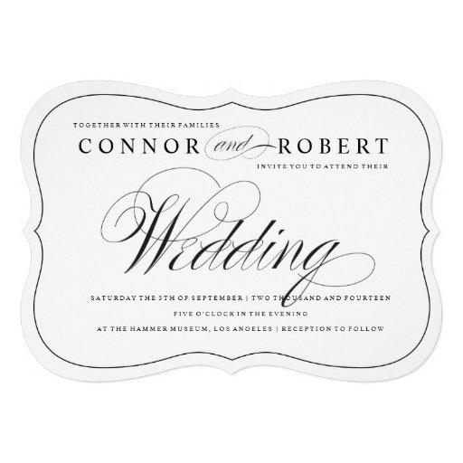 Gay Wedding Invitation Black & White Elegance Personalized Invites