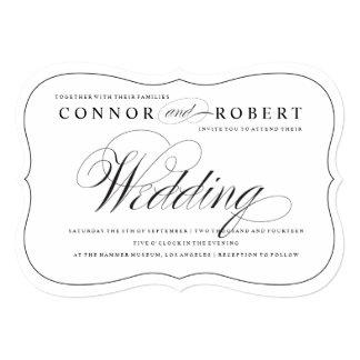 Gay Wedding Invitation Black & White Elegance