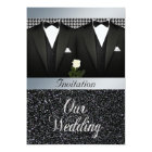 Gay Wedding Invitation with Tuxedo and White Rose