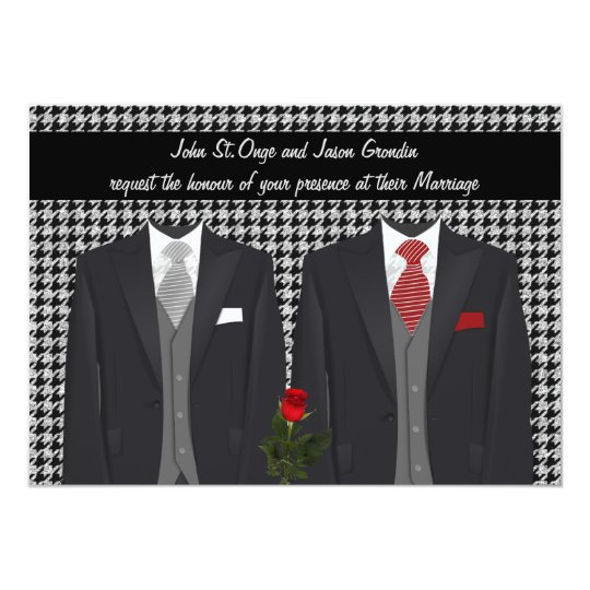 Gay Wedding Invitation with Two Tuxedos and Rose