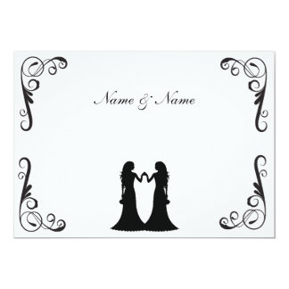 "Gay Wedding Invite - Two Brides Black and White 5"" X 7"" Invitation Card"
