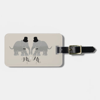 Gay Wedding Vintage Mr. & Mr. Two Groom Elephants Luggage Tag