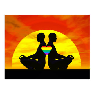 Gay yoga love - 3D render Postcard