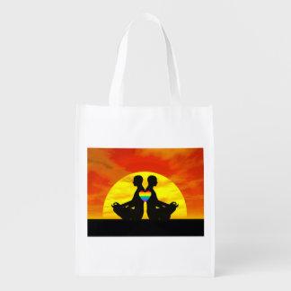 Gay yoga love - 3D render Reusable Grocery Bag