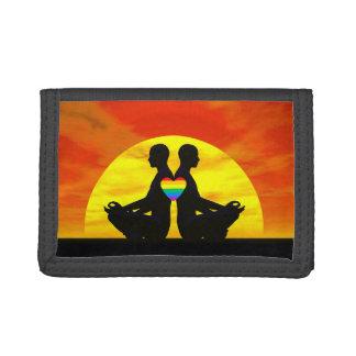 Gay yoga love - 3D render Tri-fold Wallets