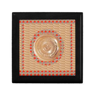 GAYATRI Mantra n OmMantra Symbol Embossed GOLD Small Square Gift Box