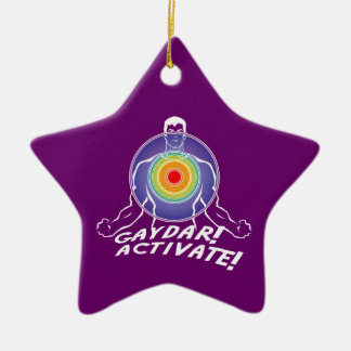 Gaydar! Activate! Rainbow Gay Ceramic Star Decoration