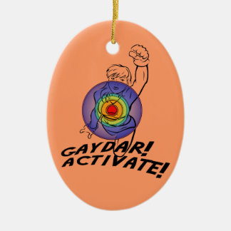 Gaydar! Activate! Rainbow Lesbian Ceramic Oval Decoration