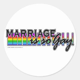 GayMarriageRainbowBar Round Sticker