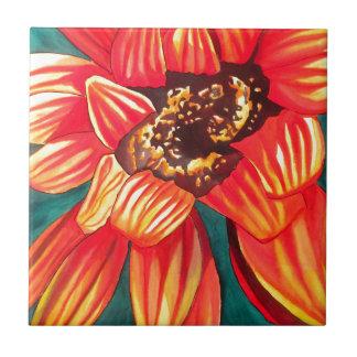 Gazania desert flower art by Sacha Grossel Small Square Tile