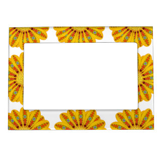 Gazania Flower Tribal Peacock Magnetic Picture Frame