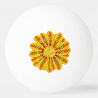 Gazania Flower Tribal Peacock Ping Pong Ball