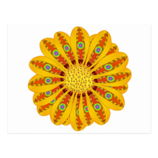 Gazania Flower Tribal Peacock Postcard