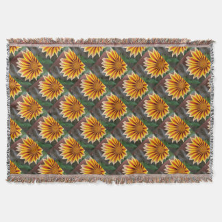 Gazania in Red, Gold and Green Throw Blanket
