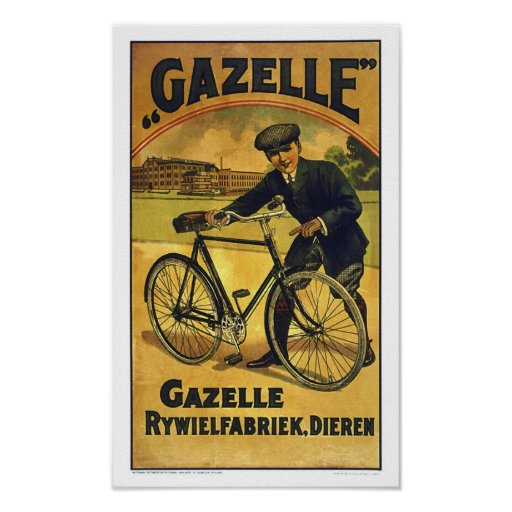 Gazelle Cycles Vintage Bicycle Poster Print