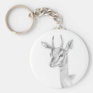 Gazelle  Study in pencil Basic Button Key Ring