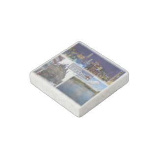 GB England - Leeds Yorkshire - Skyline City Center Stone Magnet