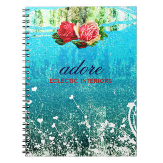 GC Adore in Roses Vintage Turquoise Blue Notebook