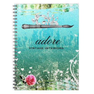 GC Adore Vintage Blue Paintbrush Spiral Note Book