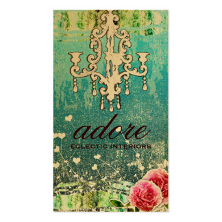 GC Adore Vintage Turquoise Metallic Gold Pack Of Standard Business Cards