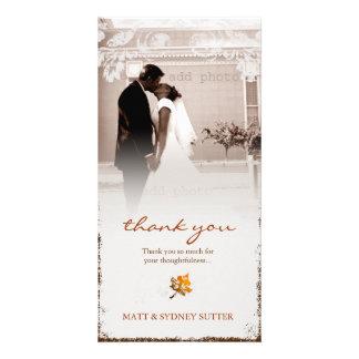 GC Aged Fall Wedding Thank you Orange Photo Card