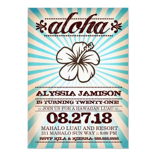 GC Aloha Sunset Aqua Blue Birthday Card
