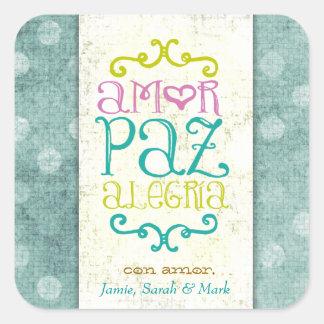 GC Amor Paz Alegria Azul Dots Square Sticker