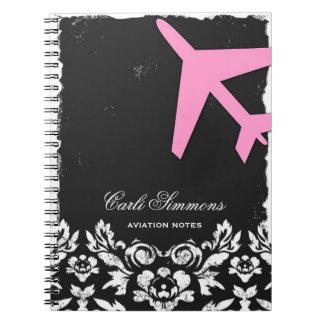 GC Aviation Takeoff Pink Damask Notepad Notebook