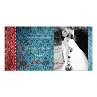 GC Bejeweled Turquoise Red Thank You Photo Cards